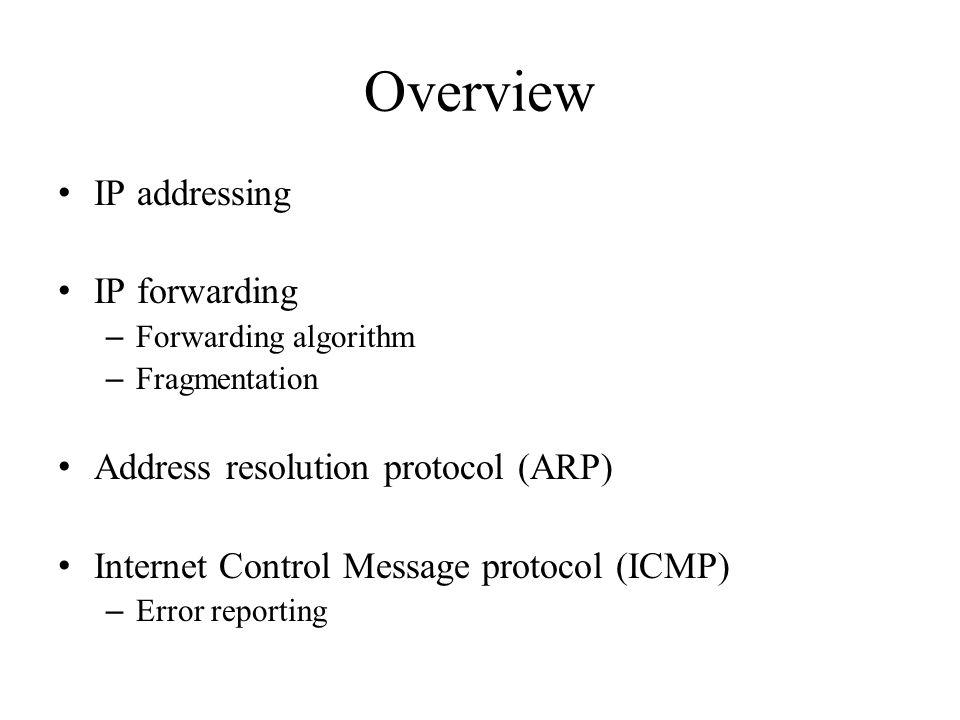 Overview IP addressing IP forwarding – Forwarding algorithm – Fragmentation Address resolution protocol (ARP) Internet Control Message protocol (ICMP)