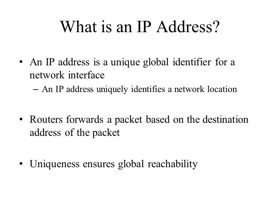 Hierarchical IP Address Allocation American Registry for Internet Numbers (ARIN) RIPE, APNIC, LACNIC, AfriNIC Internet Assigned Numbers Authority Regional Internet Registries (Five of them) Internet Service Providers