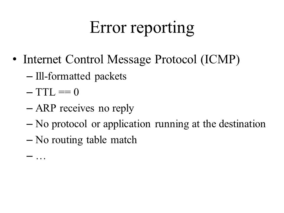 Error reporting Internet Control Message Protocol (ICMP) – Ill-formatted packets – TTL == 0 – ARP receives no reply – No protocol or application runni