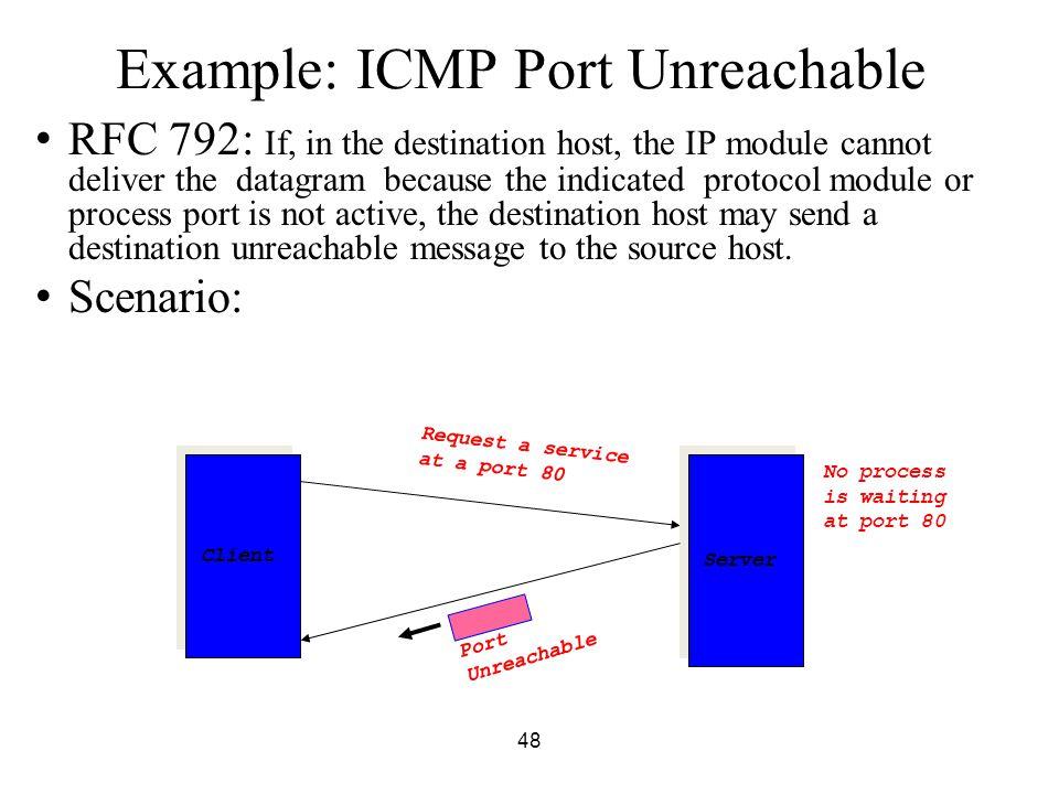 48 Example: ICMP Port Unreachable RFC 792: If, in the destination host, the IP module cannot deliver the datagram because the indicated protocol modul