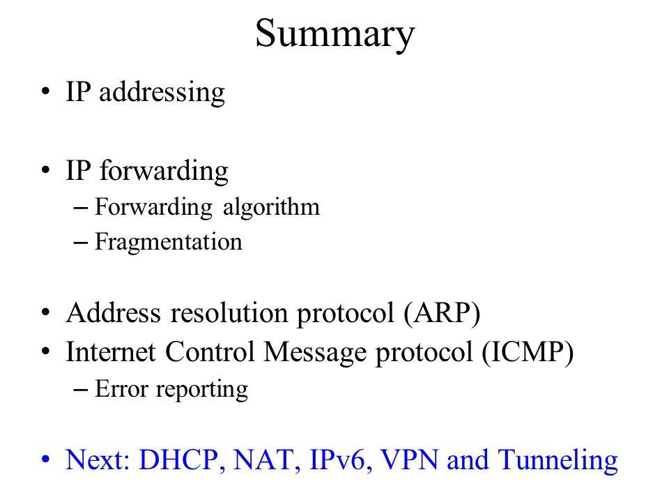 Summary IP addressing IP forwarding – Forwarding algorithm – Fragmentation Address resolution protocol (ARP) Internet Control Message protocol (ICMP)