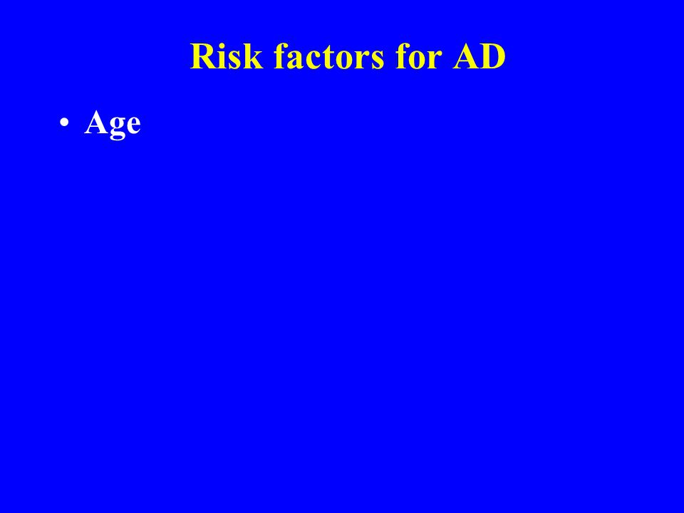 Risk factors for AD Age