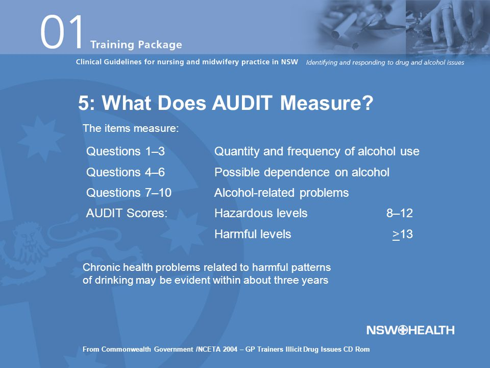 Questions 1–3Quantity and frequency of alcohol use Questions 4–6Possible dependence on alcohol Questions 7–10Alcohol-related problems AUDIT Scores:Hazardous levels8–12 Harmful levels >13 Chronic health problems related to harmful patterns of drinking may be evident within about three years The items measure: 5: What Does AUDIT Measure.