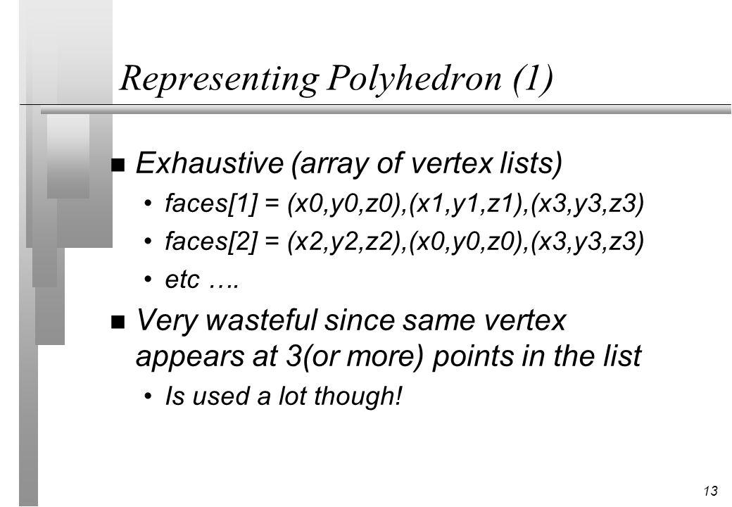 13 Representing Polyhedron (1) n Exhaustive (array of vertex lists) faces[1] = (x0,y0,z0),(x1,y1,z1),(x3,y3,z3) faces[2] = (x2,y2,z2),(x0,y0,z0),(x3,y3,z3) etc ….