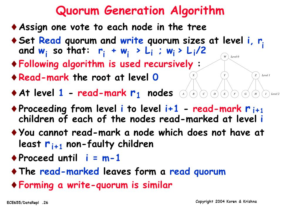 Copyright 2004 Koren & Krishna ECE655/DataRepl.26 Quorum Generation Algorithm  Assign one vote to each node in the tree  Set Read quorum and write q