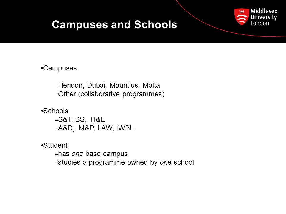 Campuses and Schools Campuses – Hendon, Dubai, Mauritius, Malta – Other (collaborative programmes) Schools – S&T, BS, H&E – A&D, M&P, LAW, IWBL Student – has one base campus – studies a programme owned by one school