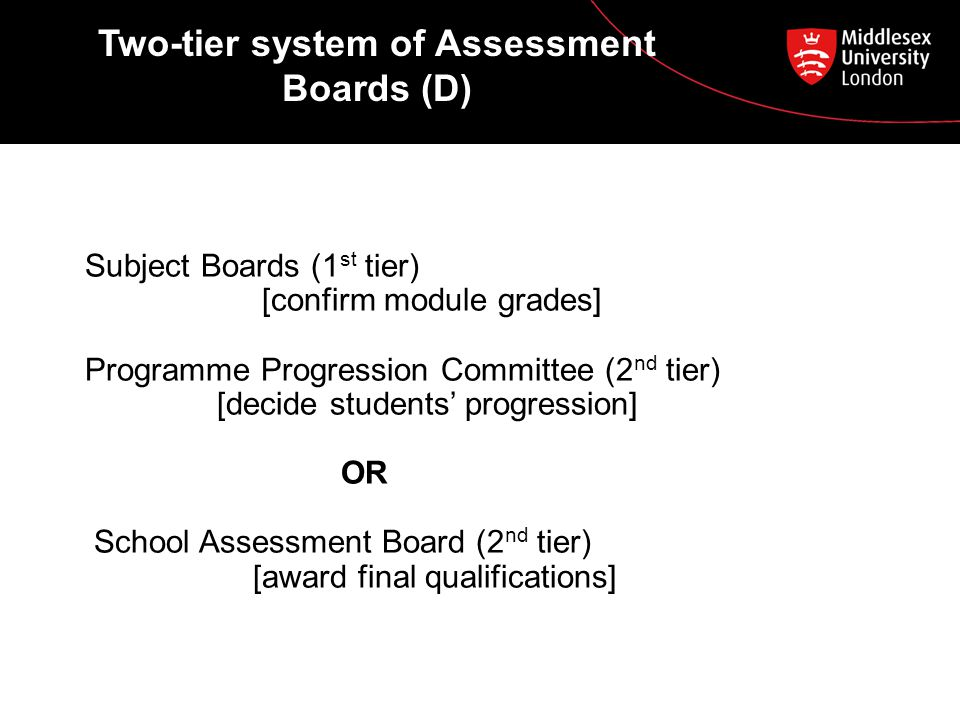 Two-tier system of Assessment Boards (D) Subject Boards (1 st tier) [confirm module grades] Programme Progression Committee (2 nd tier) [decide students' progression] OR School Assessment Board (2 nd tier) [award final qualifications]