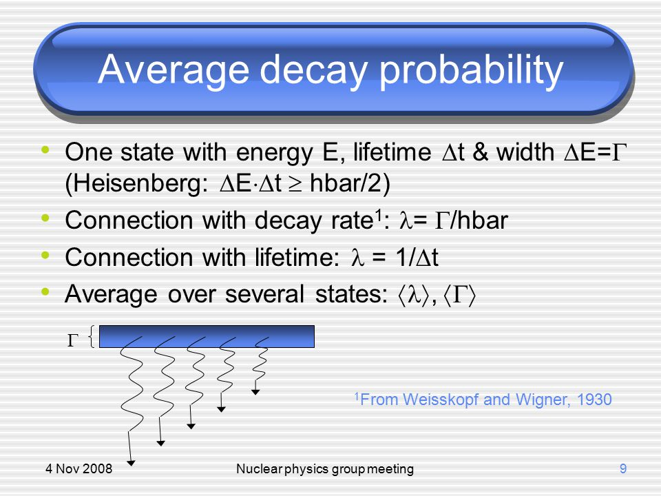 4 Nov 2008Nuclear physics group meeting9 Average decay probability One state with energy E, lifetime  t & width  E=  (Heisenberg:  E  t  hbar/2