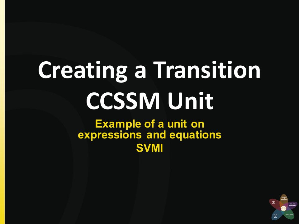 Creating a Transition CCSSM Unit Example of a unit on expressions and equations SVMI