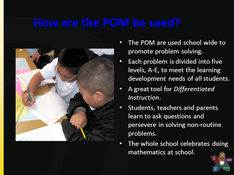 How are the POM be used? The POM are used school wide to promote problem solving. Each problem is divided into five levels, A-E, to meet the learning