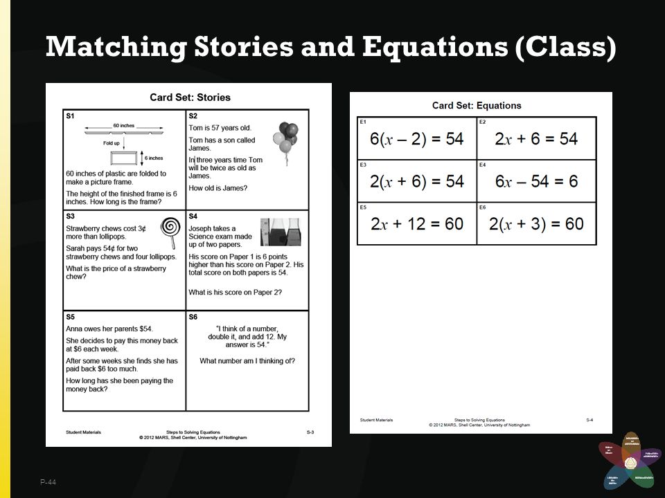 Matching Stories and Equations (Class) P-44