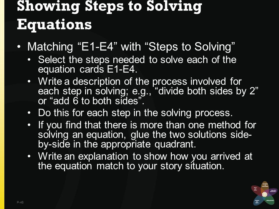"Showing Steps to Solving Equations Matching ""E1-E4"" with ""Steps to Solving"" Select the steps needed to solve each of the equation cards E1-E4. Write a"