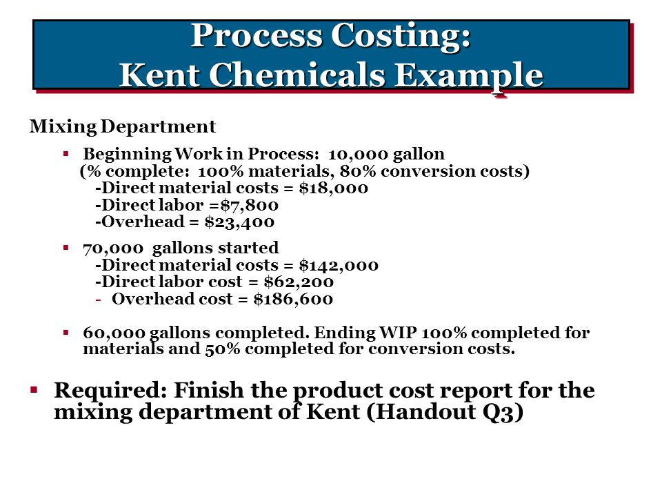 Process Costing: Kent Chemicals Example Mixing Department  Beginning Work in Process: 10,000 gallon (% complete: 100% materials, 80% conversion costs
