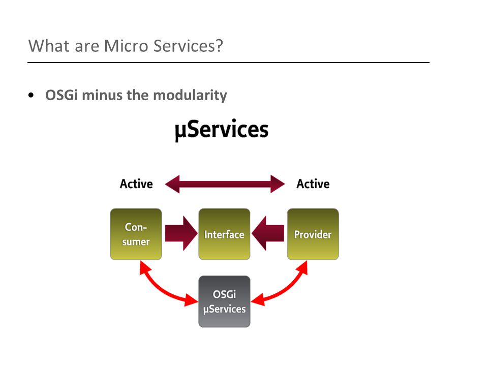 What's next Declarative Services wire.js – extends Asynchronous Module Definition define([ wire!aService , wire!anotherService], function(aService, anotherService){…}); Configuration Admin and Metatype Services Permission Policy and Admin