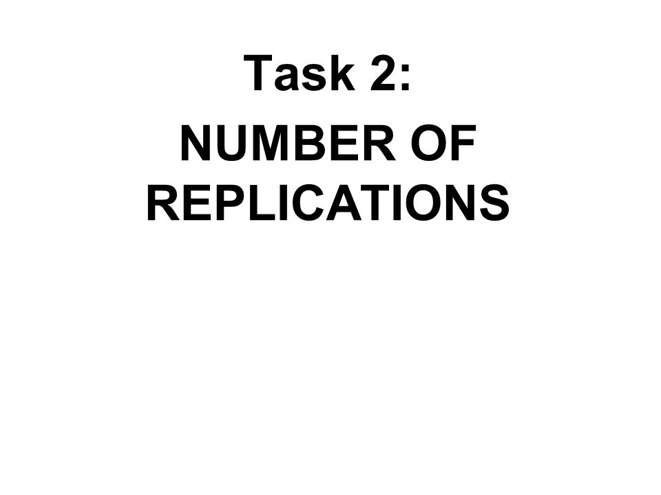 Task 2: NUMBER OF REPLICATIONS