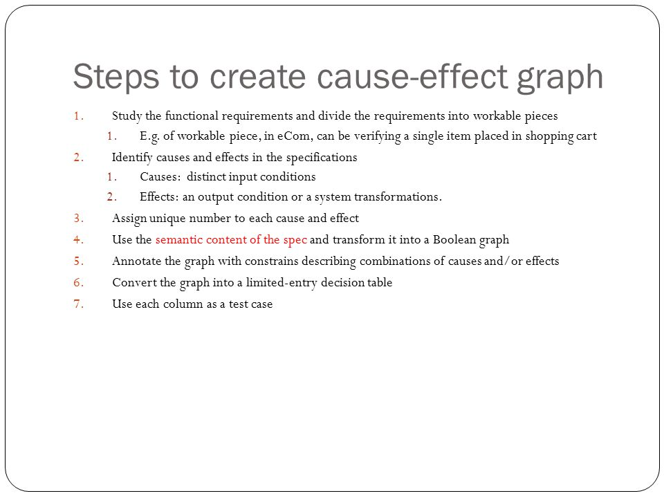 Steps to create cause-effect graph 1.Study the functional requirements and divide the requirements into workable pieces 1.E.g. of workable piece, in e