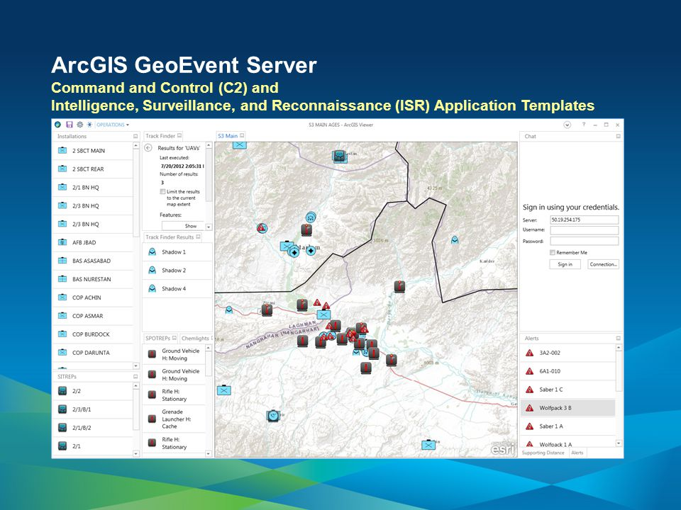 ArcGIS GeoEvent Server Command and Control (C2) and Intelligence, Surveillance, and Reconnaissance (ISR) Application Templates