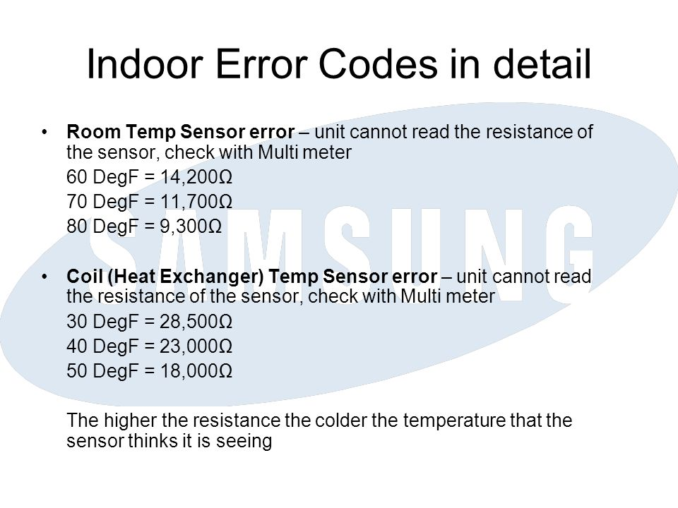 Outdoor Error Codes in detail Comp V Limit Error – High capacity load on the system but compressor is running below 780RPM although controller is trying to speed up the compressor Unit will restart 9 times to try and clear the fault before showing the error code, each restart will have a 3 minute time delay before the next start Causes – High discharge pressure, possible overcharge