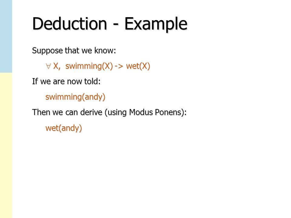 Deduction - Example Suppose that we know:  X, swimming(X) -> wet(X)  X, swimming(X) -> wet(X) If we are now told: swimming(andy) swimming(andy) Then we can derive (using Modus Ponens): wet(andy) wet(andy)