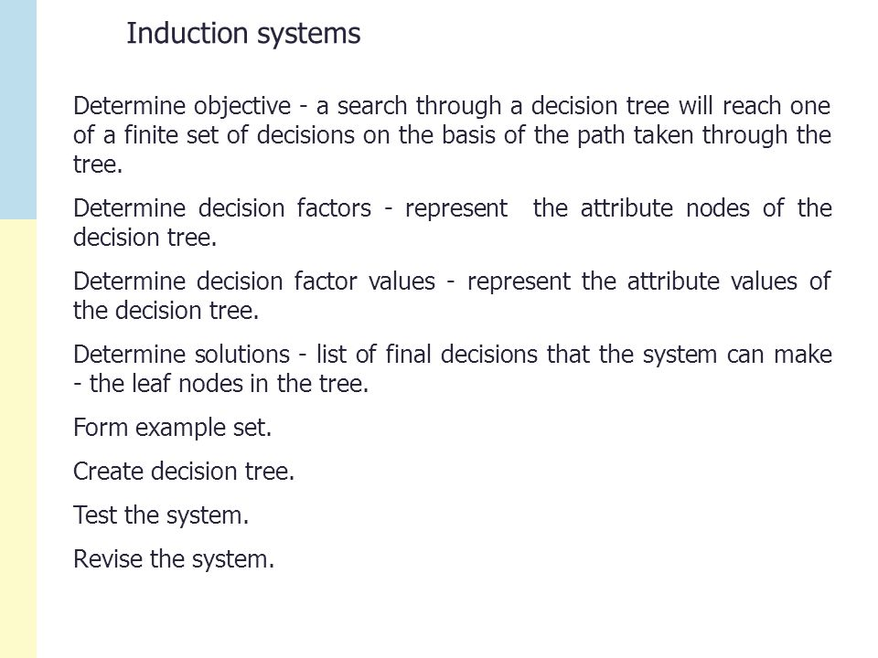 Induction systems Determine objective - a search through a decision tree will reach one of a finite set of decisions on the basis of the path taken through the tree.