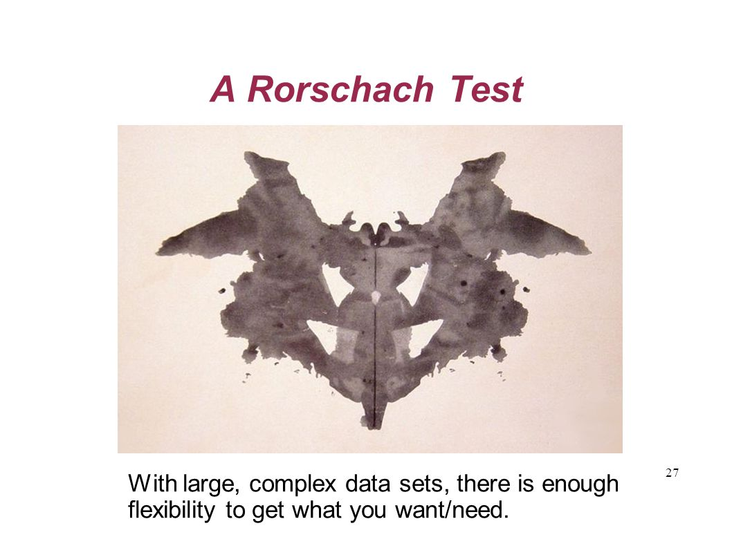 27 A Rorschach Test With large, complex data sets, there is enough flexibility to get what you want/need.