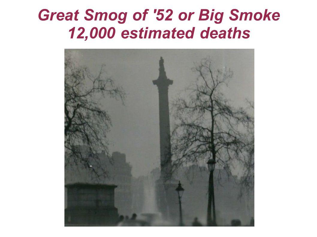 Great Smog of 52 or Big Smoke 12,000 estimated deaths