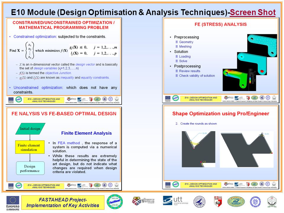 FASTAHEAD Project- Implementation of Key Activities E10 Module (Design Optimisation & Analysis Techniques)-Screen Shot