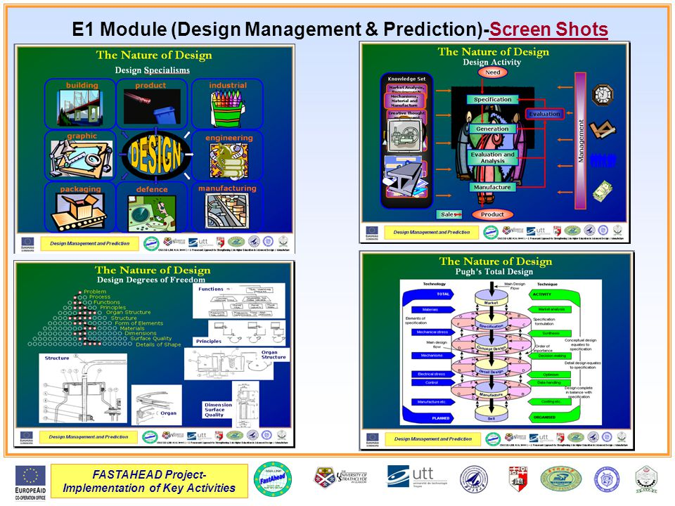 FASTAHEAD Project- Implementation of Key Activities E1 Module (Design Management & Prediction)-Screen Shots