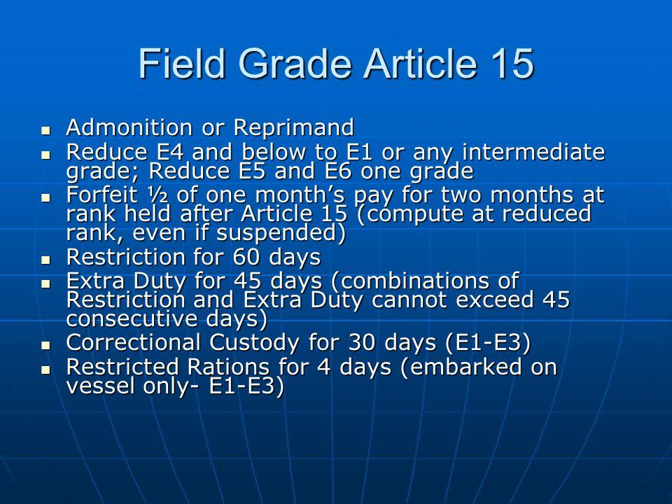 Field Grade Article 15 Admonition or Reprimand Admonition or Reprimand Reduce E4 and below to E1 or any intermediate grade; Reduce E5 and E6 one grade