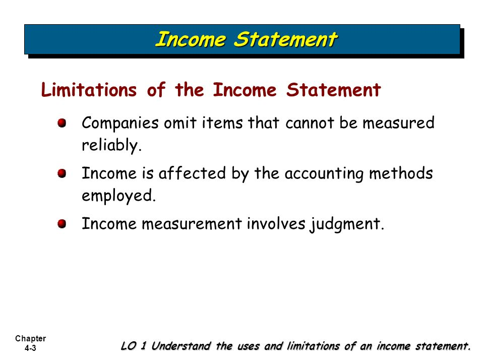 Chapter 4-4 Format of the Income Statement LO 1 Understand the uses and limitations of an income statement.
