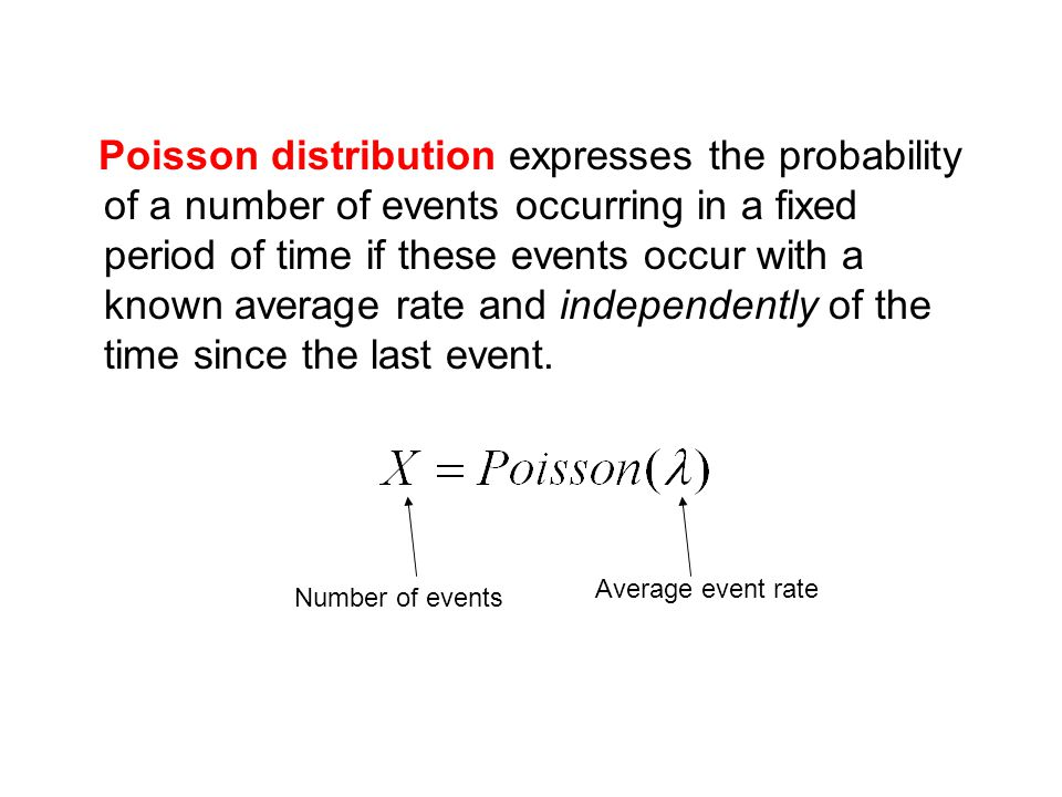 Poisson distribution expresses the probability of a number of events occurring in a fixed period of time if these events occur with a known average rate and independently of the time since the last event.