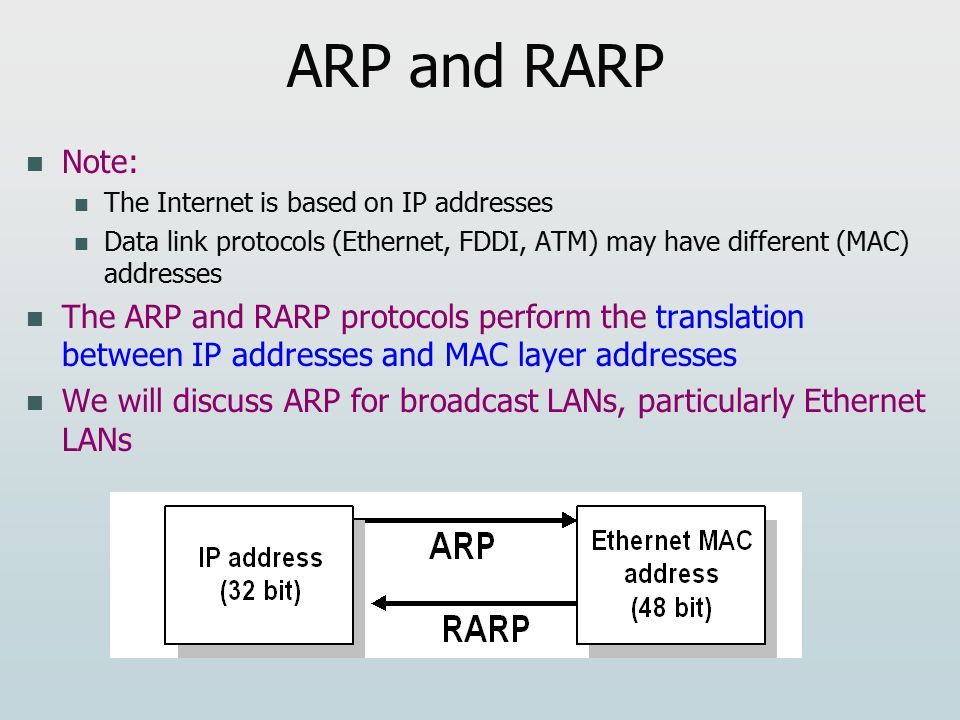 ARP and RARP Note: The Internet is based on IP addresses Data link protocols (Ethernet, FDDI, ATM) may have different (MAC) addresses The ARP and RARP protocols perform the translation between IP addresses and MAC layer addresses We will discuss ARP for broadcast LANs, particularly Ethernet LANs