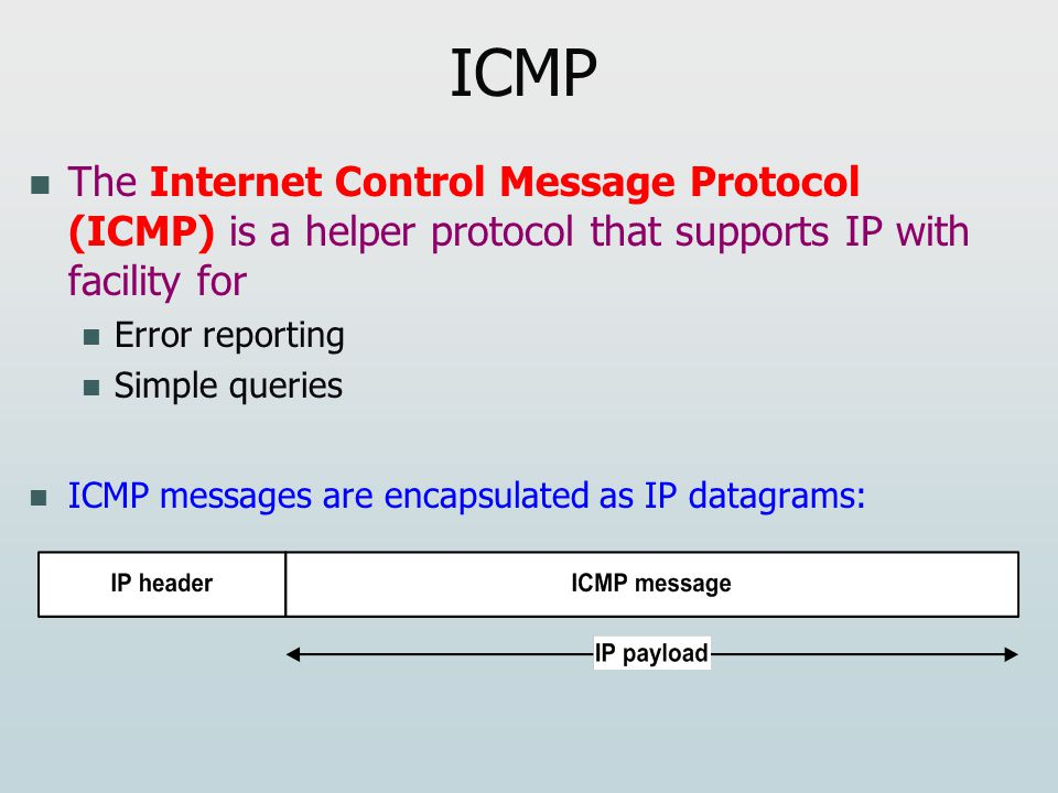 ICMP The Internet Control Message Protocol (ICMP) is a helper protocol that supports IP with facility for Error reporting Simple queries ICMP messages are encapsulated as IP datagrams: