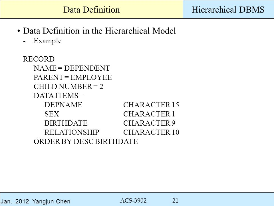 Jan. 2012 Yangjun Chen ACS-3902 21 Hierarchical DBMS Data Definition in the Hierarchical Model -Example RECORD NAME = DEPENDENT PARENT = EMPLOYEE CHIL