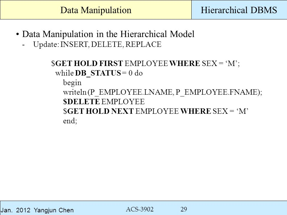 Jan. 2012 Yangjun Chen ACS-3902 29 Hierarchical DBMS Data Manipulation in the Hierarchical Model -Update: INSERT, DELETE, REPLACE $GET HOLD FIRST EMPL