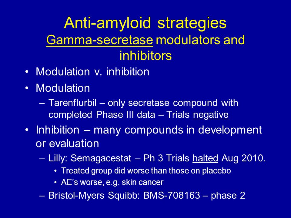 Anti-amyloid strategies Gamma-secretase modulators and inhibitors Modulation v. inhibition Modulation –Tarenflurbil – only secretase compound with com