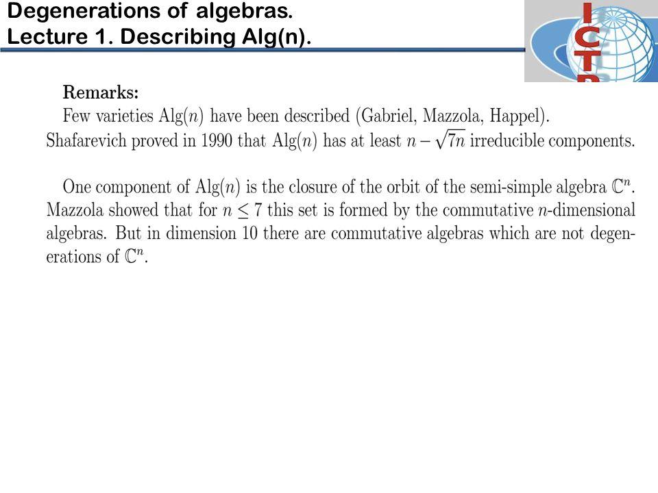 Degenerations of algebras. Lecture 1. Describing Alg(n).