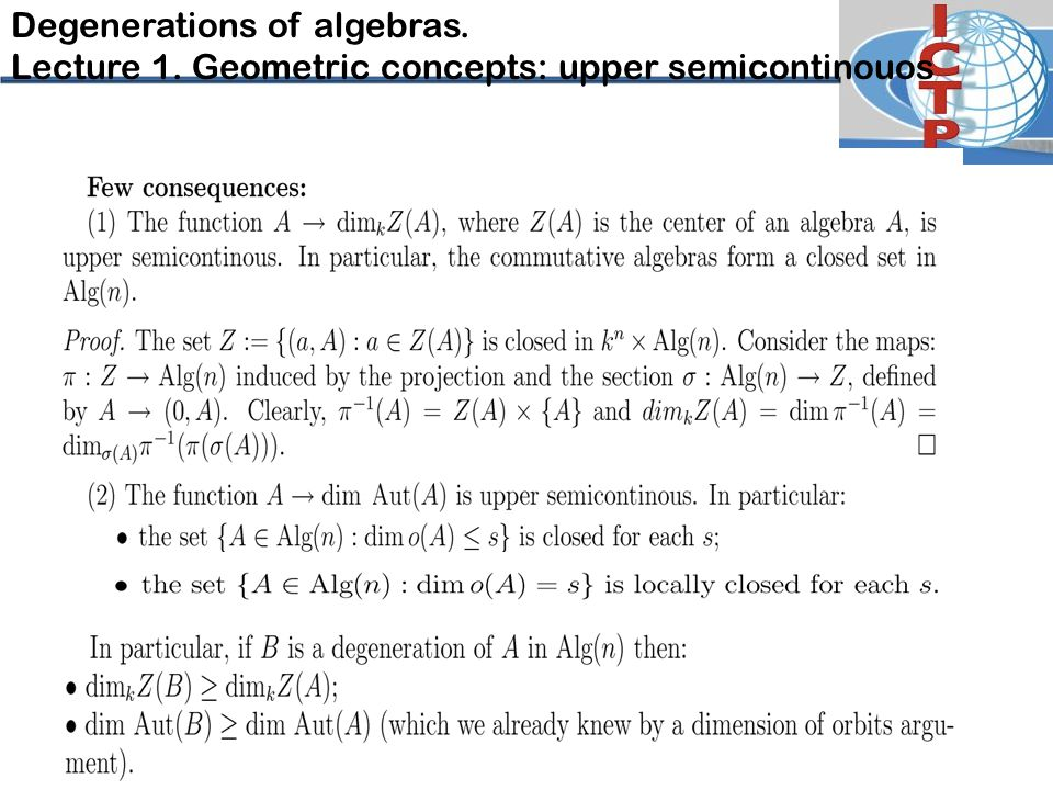 Degenerations of algebras. Lecture 1. Geometric concepts: upper semicontinouos
