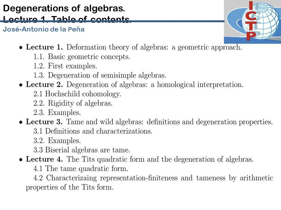 Degenerations of algebras. Lecture 1. Table of contents. José-Antonio de la P eña