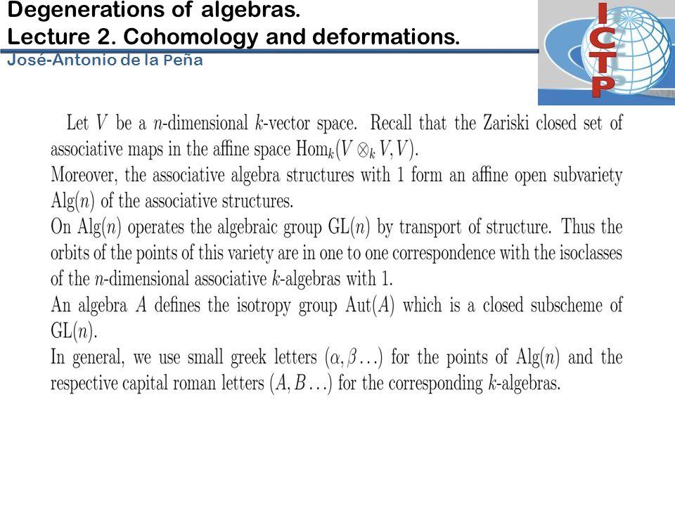 Degenerations of algebras. Lecture 2. Cohomology and deformations. José-Antonio de la P eña