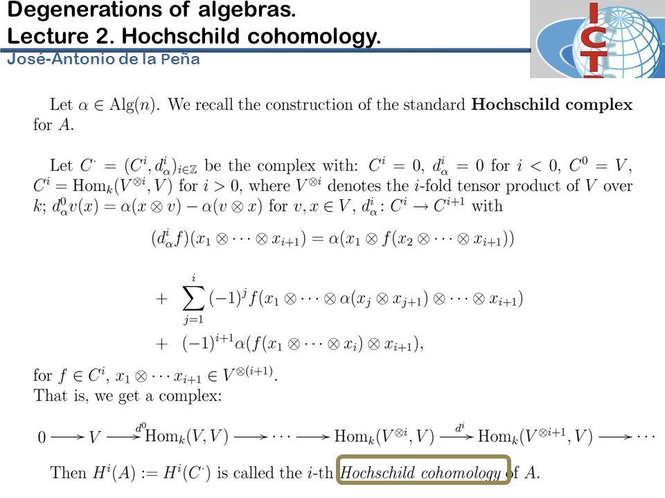 Degenerations of algebras. Lecture 2. Hochschild cohomology. José-Antonio de la P eña
