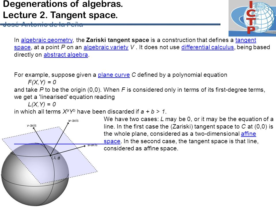 Degenerations of algebras.Lecture 2. Tangent space.