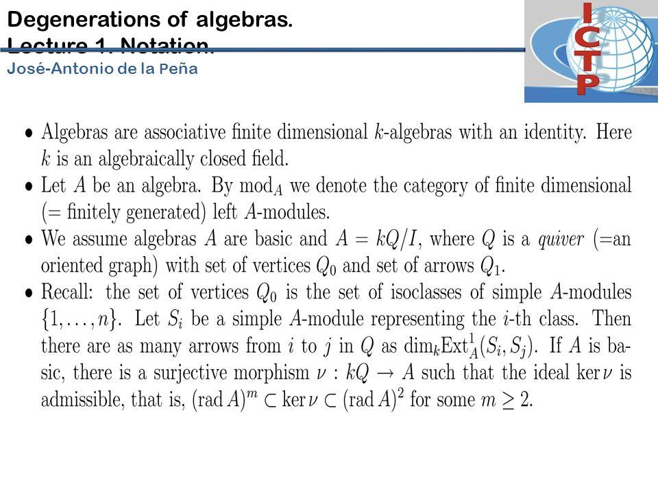 Degenerations of algebras. Lecture 1. Notation. José-Antonio de la P eña
