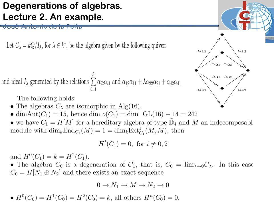 Degenerations of algebras. Lecture 2. An example. José-Antonio de la P eña