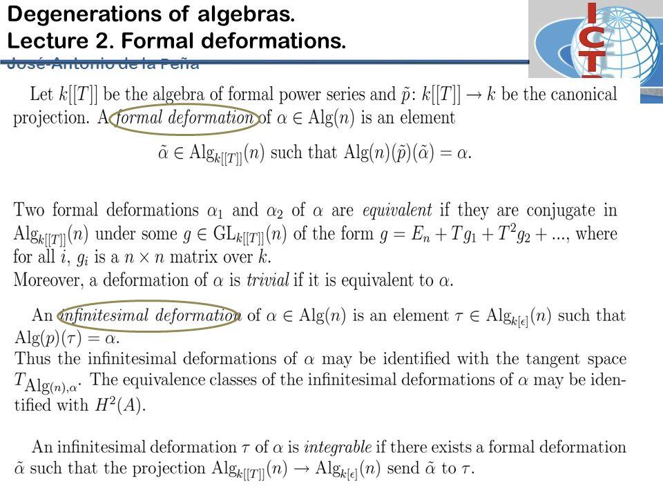 Degenerations of algebras. Lecture 2. Formal deformations. José-Antonio de la P eña
