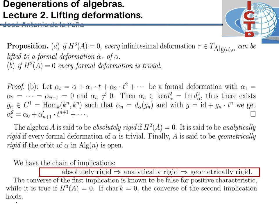 Degenerations of algebras. Lecture 2. Lifting deformations. José-Antonio de la P eña