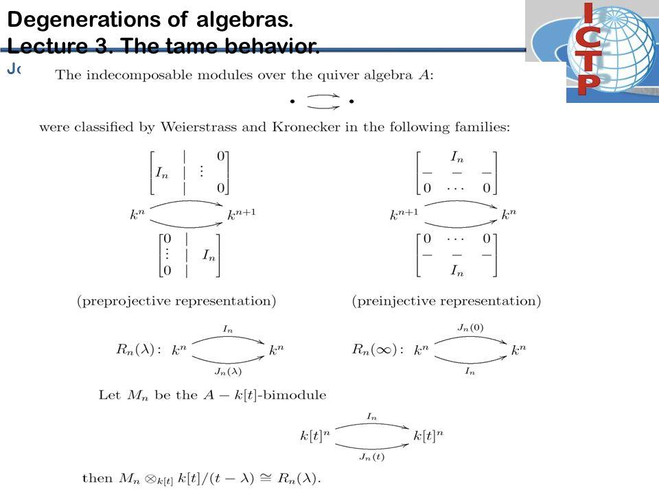 Degenerations of algebras. Lecture 3. The tame behavior. José-Antonio de la P eña