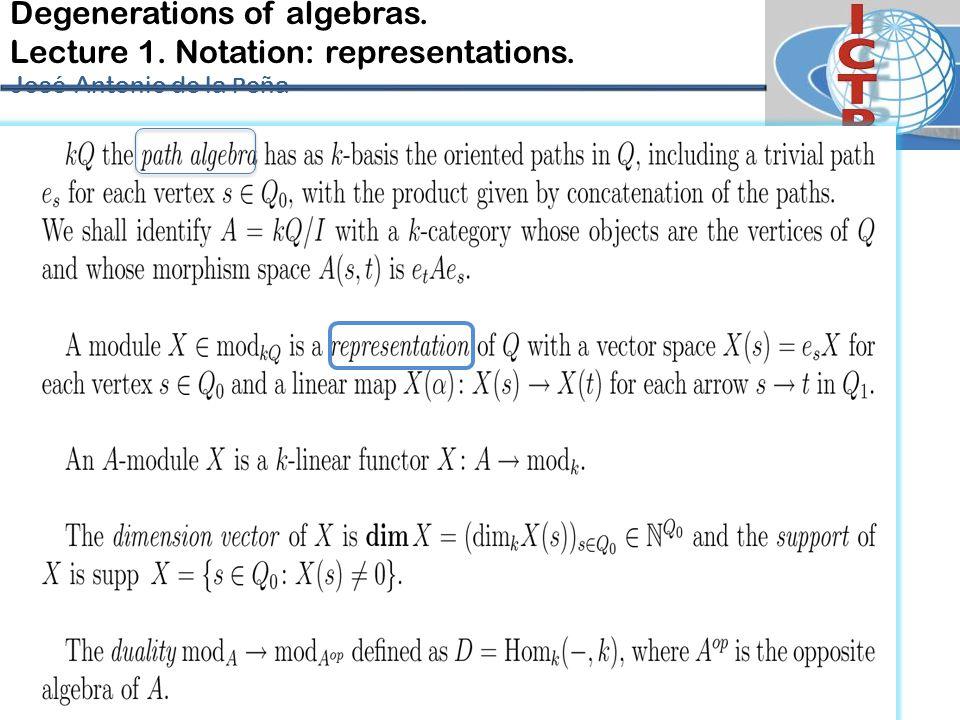 Degenerations of algebras. Lecture 1. Notation: representations. José-Antonio de la P eña