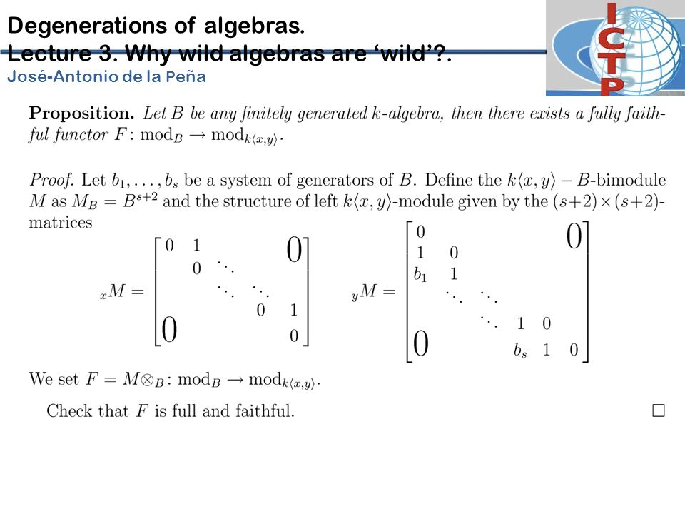 Degenerations of algebras. Lecture 3. Why wild algebras are 'wild'?. José-Antonio de la P eña