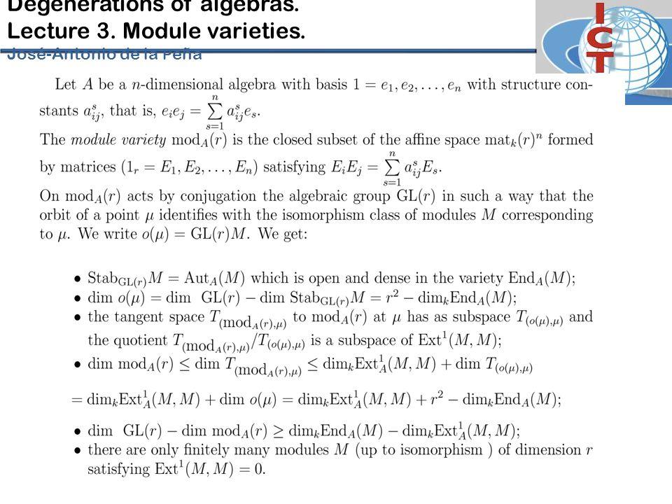 Degenerations of algebras. Lecture 3. Module varieties. José-Antonio de la P eña